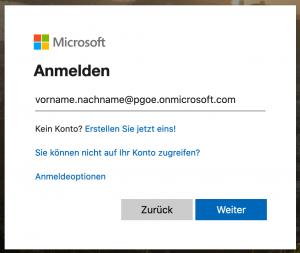 Anmeldung bei Microsoft