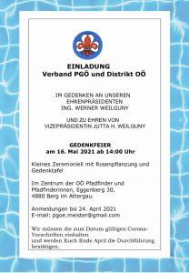 EInladung Verband PGÖ und Distrikt OÖ im Gedenken an Werner Weilguny